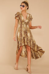 3 Still Falling Brown Multi Print Dress at reddressboutique.com