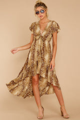 5 Still Falling Brown Multi Print Dress at reddressboutique.com