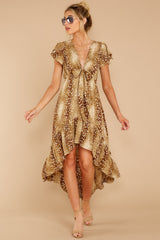 7 Still Falling Brown Multi Print Dress at reddressboutique.com