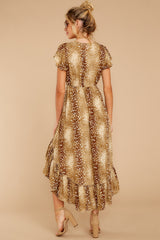 8 Still Falling Brown Multi Print Dress at reddressboutique.com