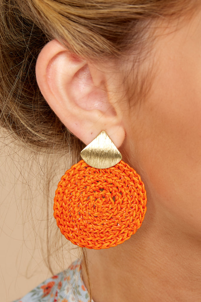 1 Drops Of Color Dark Orange Earrings at reddress.com