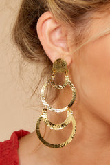2 Cascading Beauty Gold Earrings at reddressboutique.com