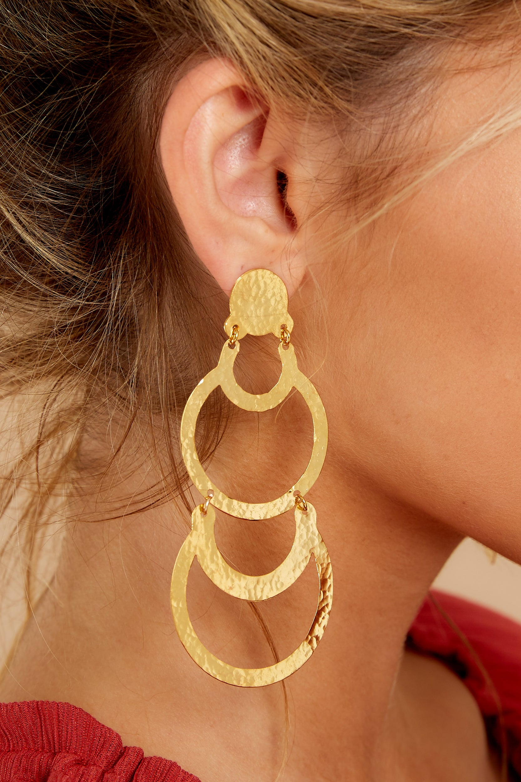 1 Cascading Beauty Gold Earrings at reddressboutique.com