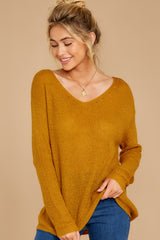 6 Through The Window Goldenrod Sweater at reddressboutique.com