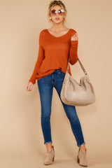 2 Through The Window Burnt Orange Sweater at reddressboutique.com