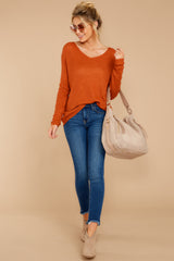 3 Through The Window Burnt Orange Sweater at reddressboutique.com