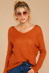 4 Through The Window Burnt Orange Sweater at reddressboutique.com