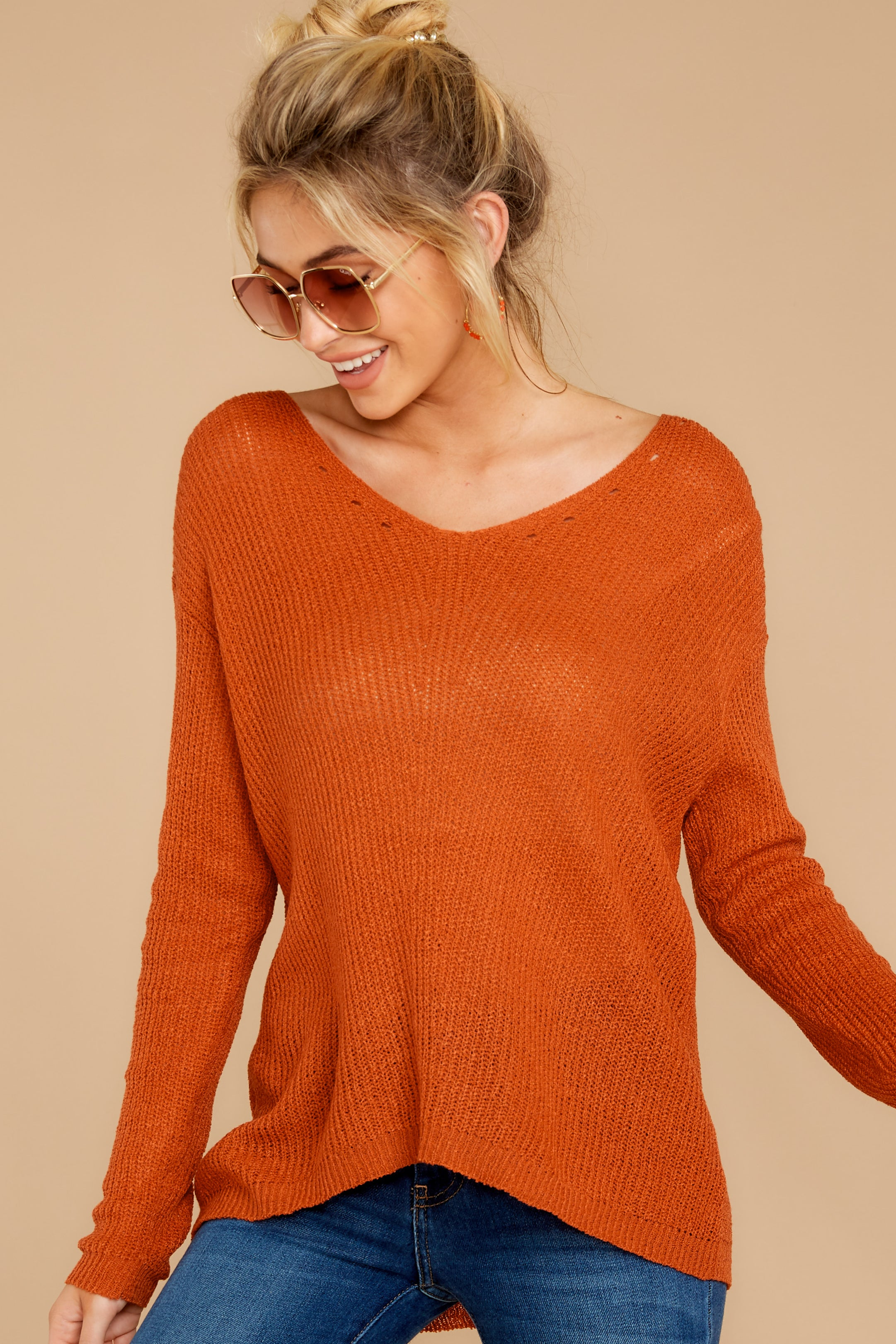 5 Through The Window Burnt Orange Sweater at reddressboutique.com