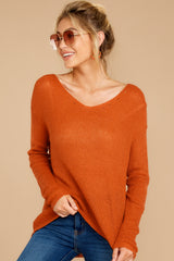 6 Through The Window Burnt Orange Sweater at reddressboutique.com
