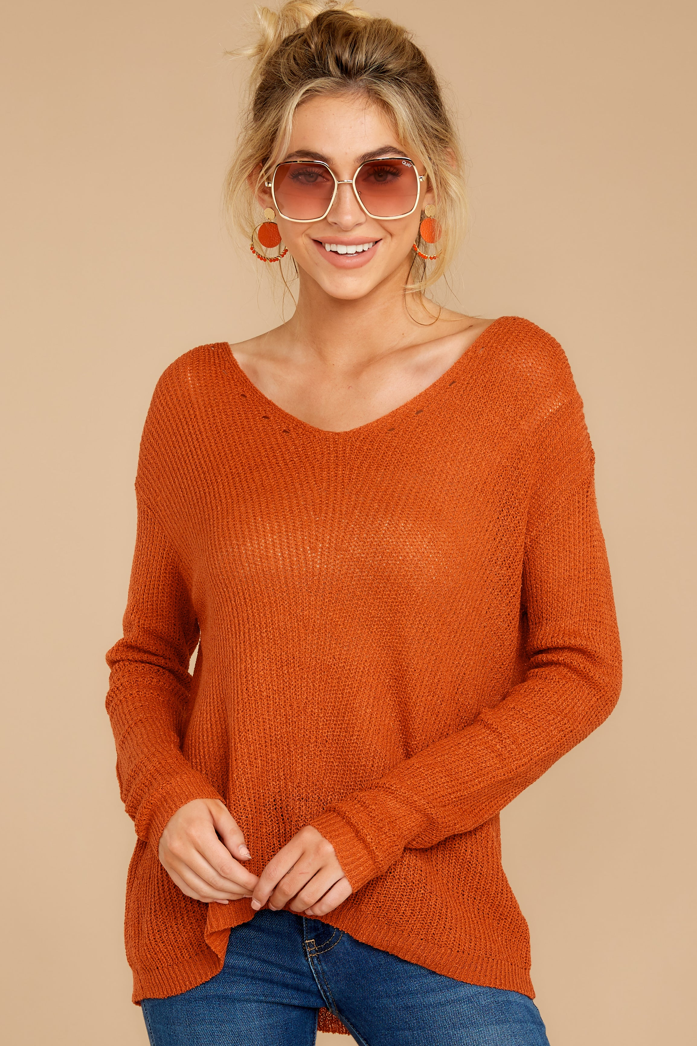 7 Through The Window Burnt Orange Sweater at reddressboutique.com