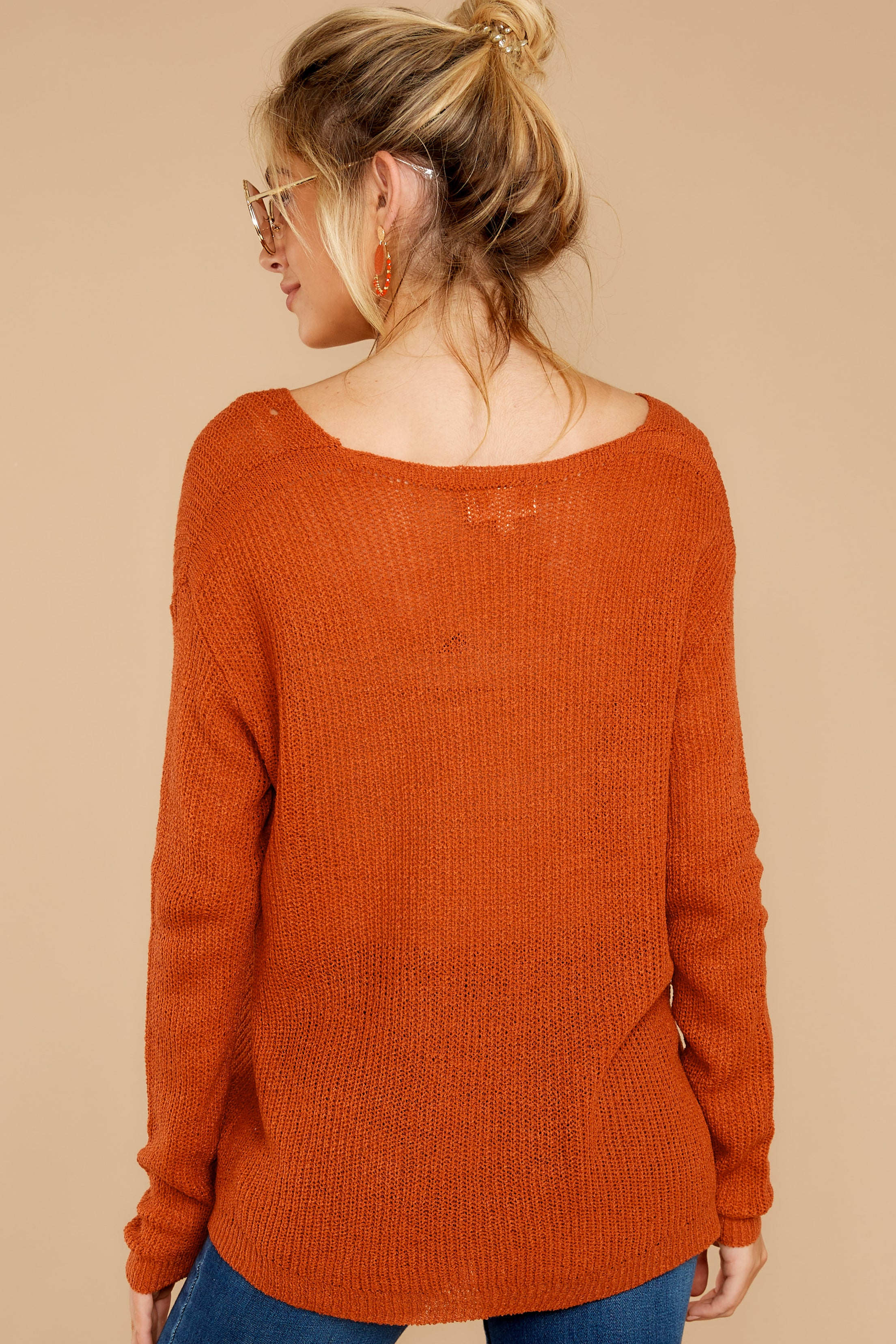 8 Through The Window Burnt Orange Sweater at reddressboutique.com