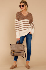 1 Settled In Tawny Brown Stripe Sweater at reddressboutique.com