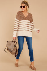 2 Settled In Tawny Brown Stripe Sweater at reddressboutique.com