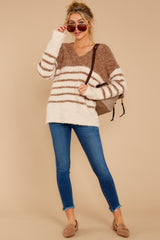 3 Settled In Tawny Brown Stripe Sweater at reddressboutique.com