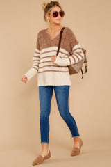 4 Settled In Tawny Brown Stripe Sweater at reddressboutique.com