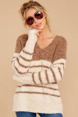 5 Settled In Tawny Brown Stripe Sweater at reddressboutique.com