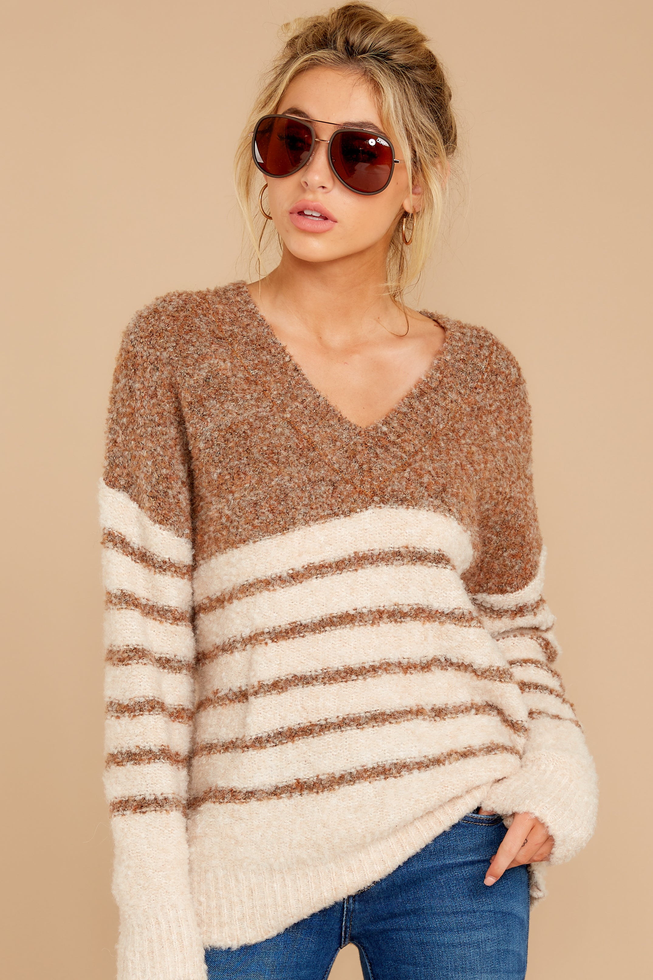 6 Settled In Tawny Brown Stripe Sweater at reddressboutique.com