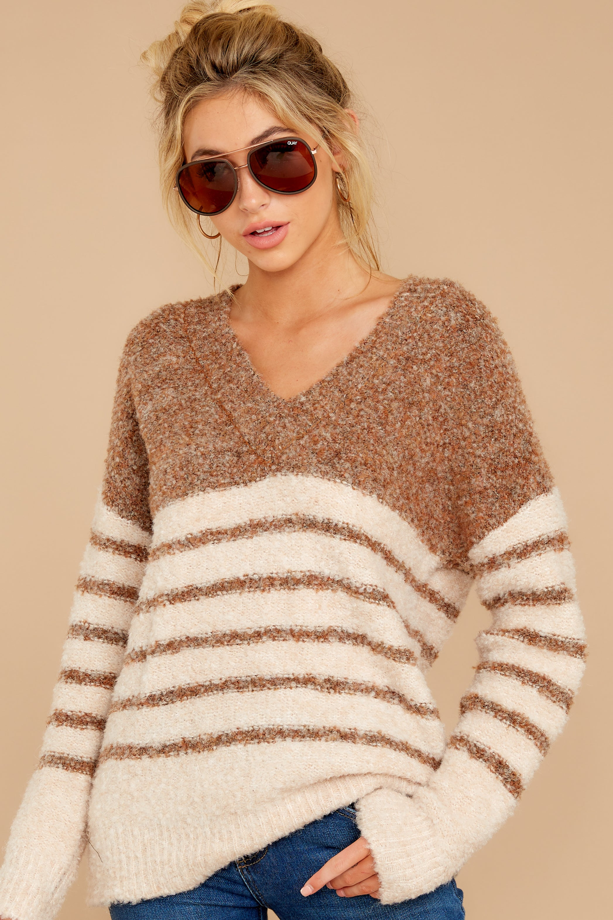 7 Settled In Tawny Brown Stripe Sweater at reddressboutique.com