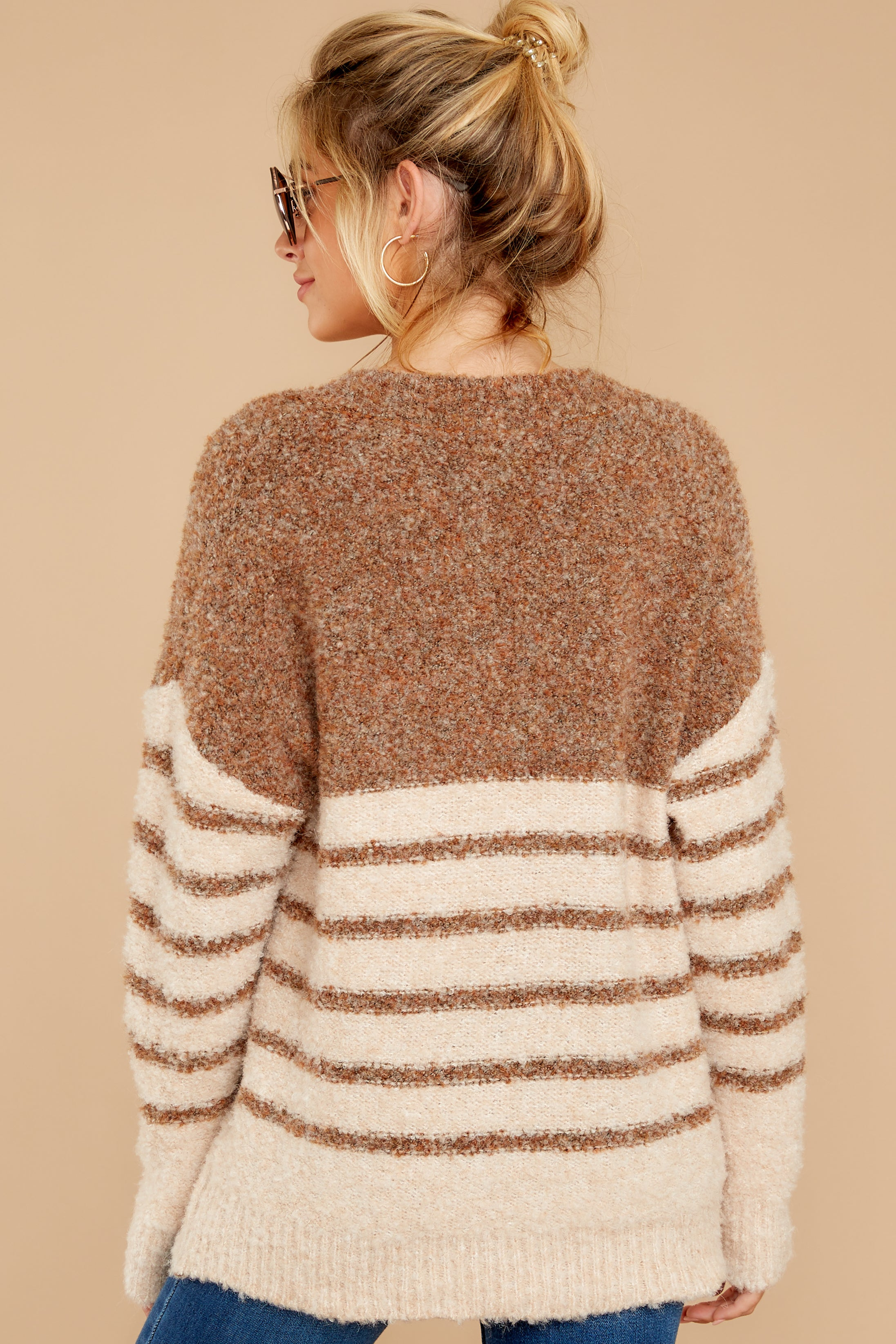 8 Settled In Tawny Brown Stripe Sweater at reddressboutique.com