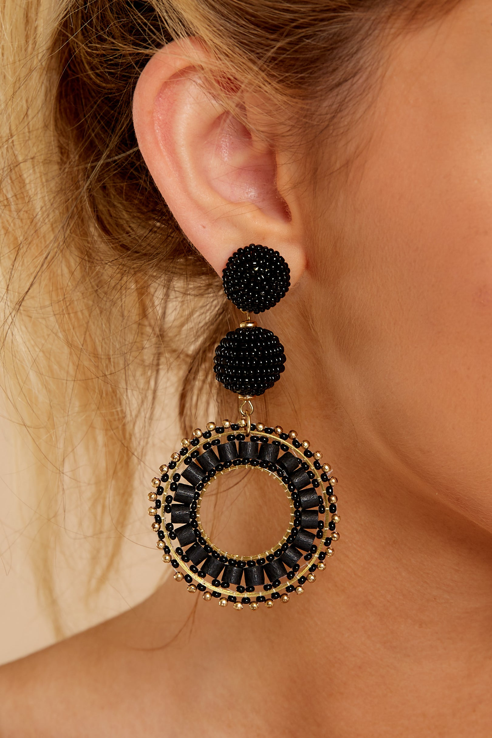 1 Anyway Anywhere Black Beaded Earrings at reddressboutique.com
