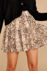 2 Leave Her Wild Tan Snake Print Skirt at reddressboutique.com