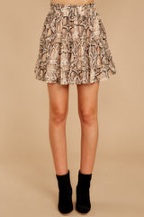 3 Leave Her Wild Tan Snake Print Skirt at reddressboutique.com