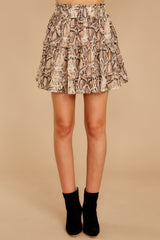 4 Leave Her Wild Tan Snake Print Skirt at reddressboutique.com