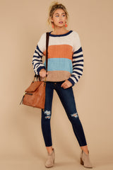 2 Designed To Align Navy Multi Stripe Sweater at redddressboutique.com