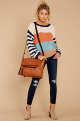 3 Designed To Align Navy Multi Stripe Sweater at redddressboutique.com