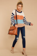 4 Designed To Align Navy Multi Stripe Sweater at redddressboutique.com