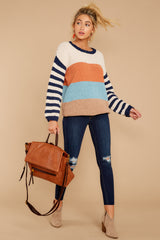 1 Designed To Align Navy Multi Stripe Sweater at redddressboutique.com