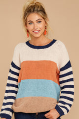 5 Designed To Align Navy Multi Stripe Sweater at redddressboutique.com