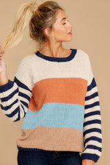 6 Designed To Align Navy Multi Stripe Sweater at redddressboutique.com