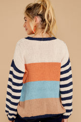 8 Designed To Align Navy Multi Stripe Sweater at redddressboutique.com