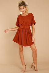 Keen On You Rust Orange Dress