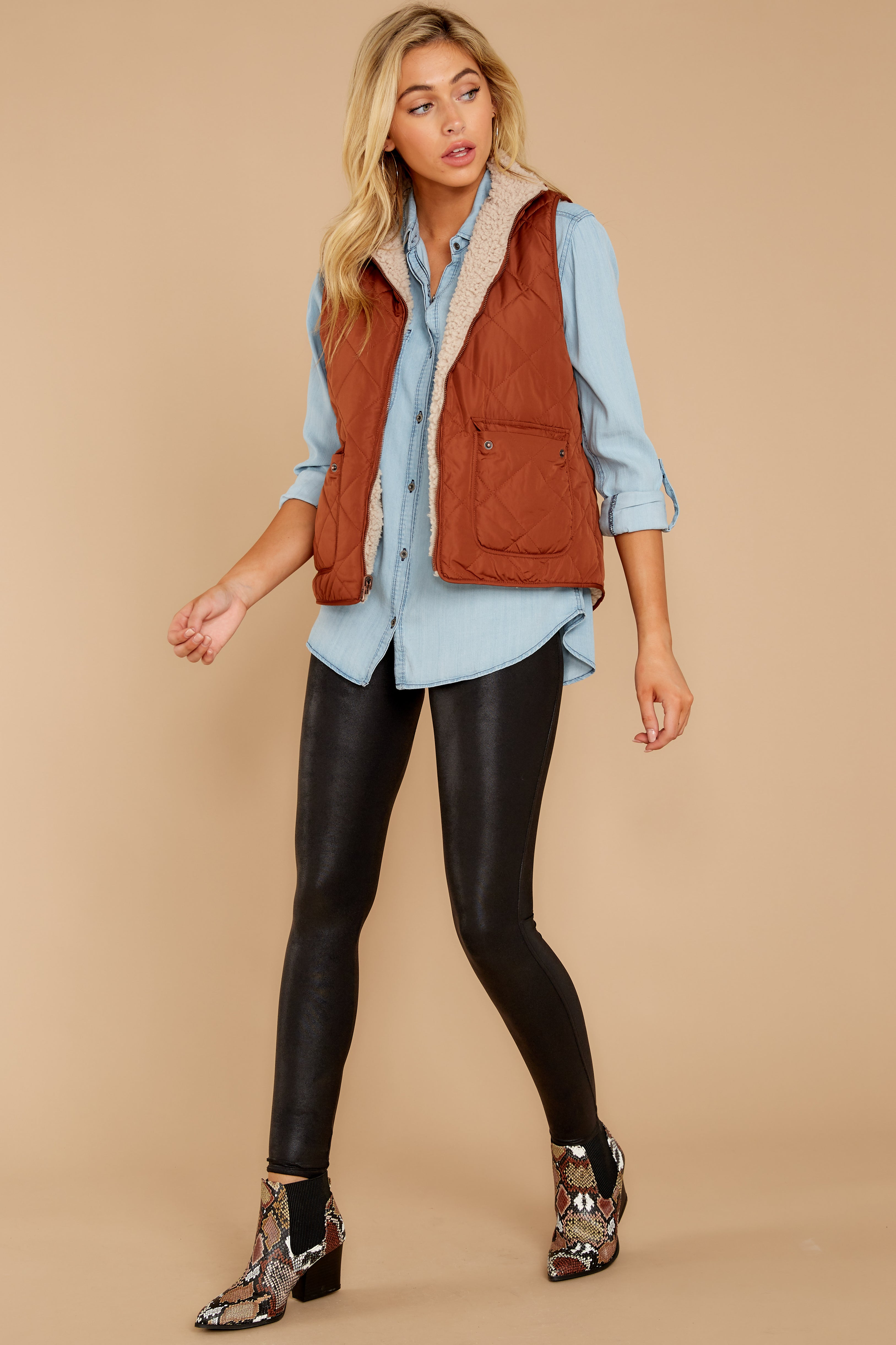 4 Park City Reversible Chestnut Vest at reddressboutique.com