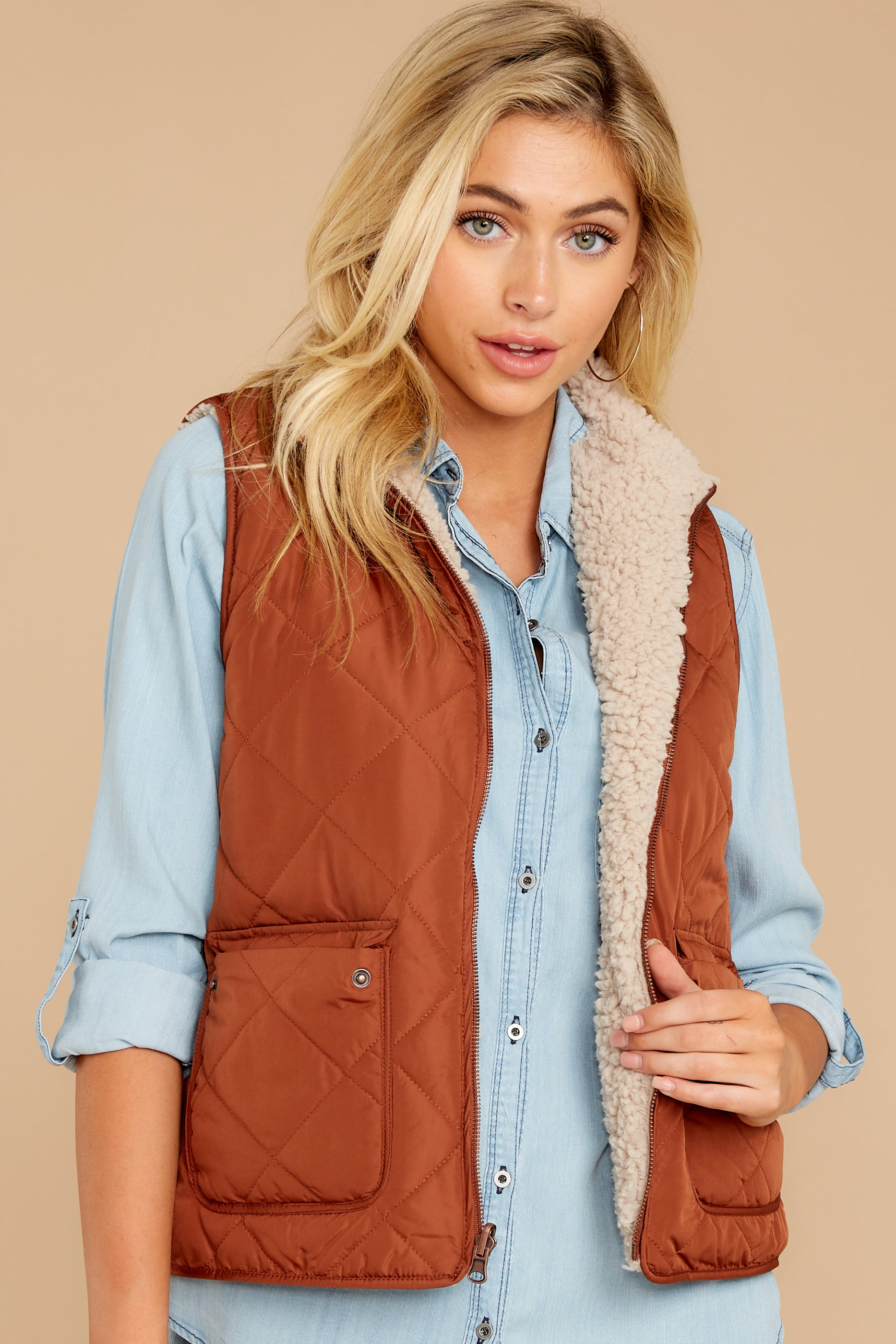 5 Park City Reversible Chestnut Vest at reddressboutique.com