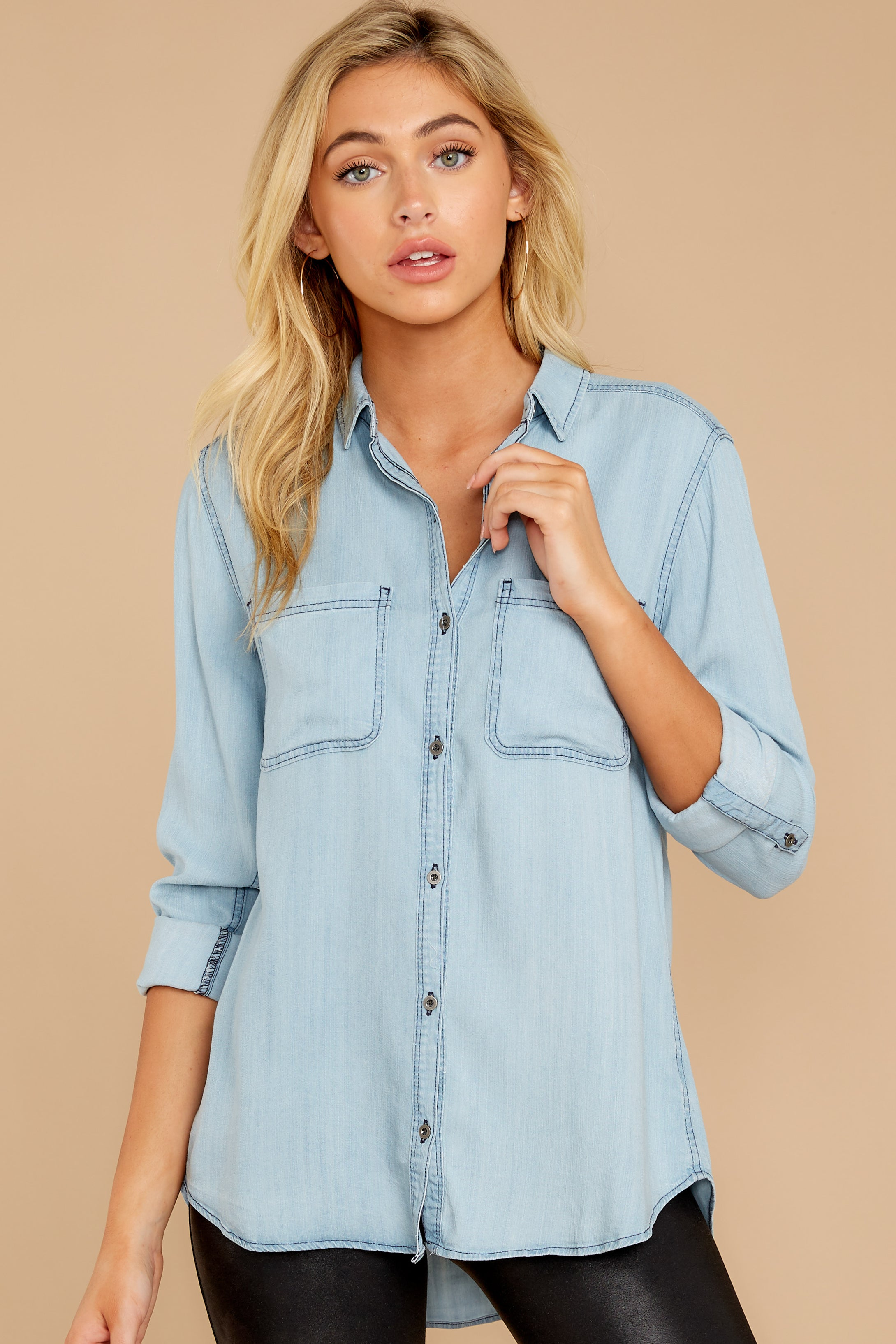 1 Wander Free Light Chambray Button Up Top at reddressboutique.com