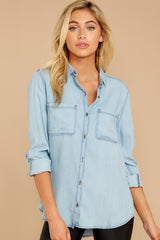 2 Wander Free Light Chambray Button Up Top at reddressboutique.com
