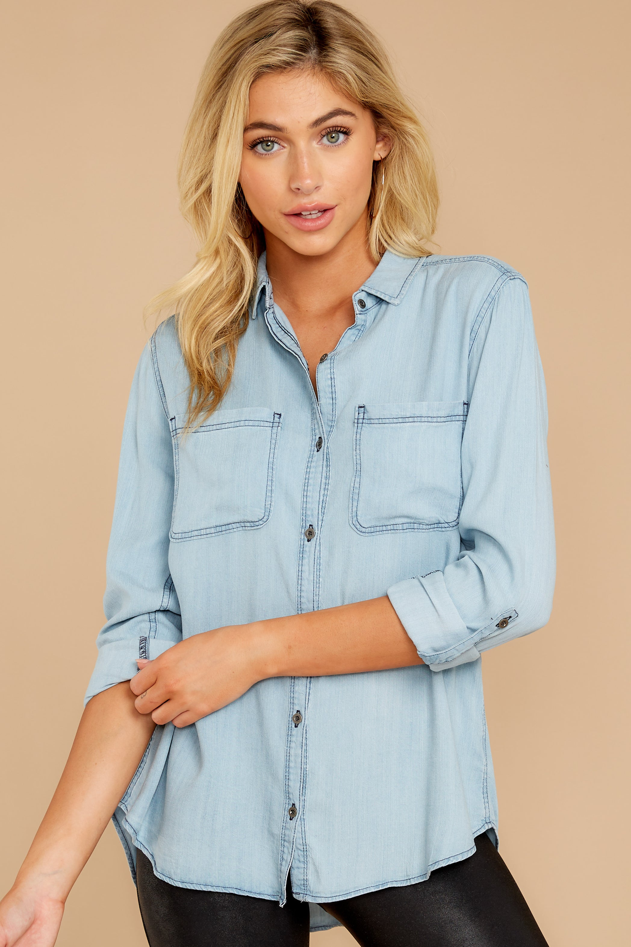 3 Wander Free Light Chambray Button Up Top at reddressboutique.com
