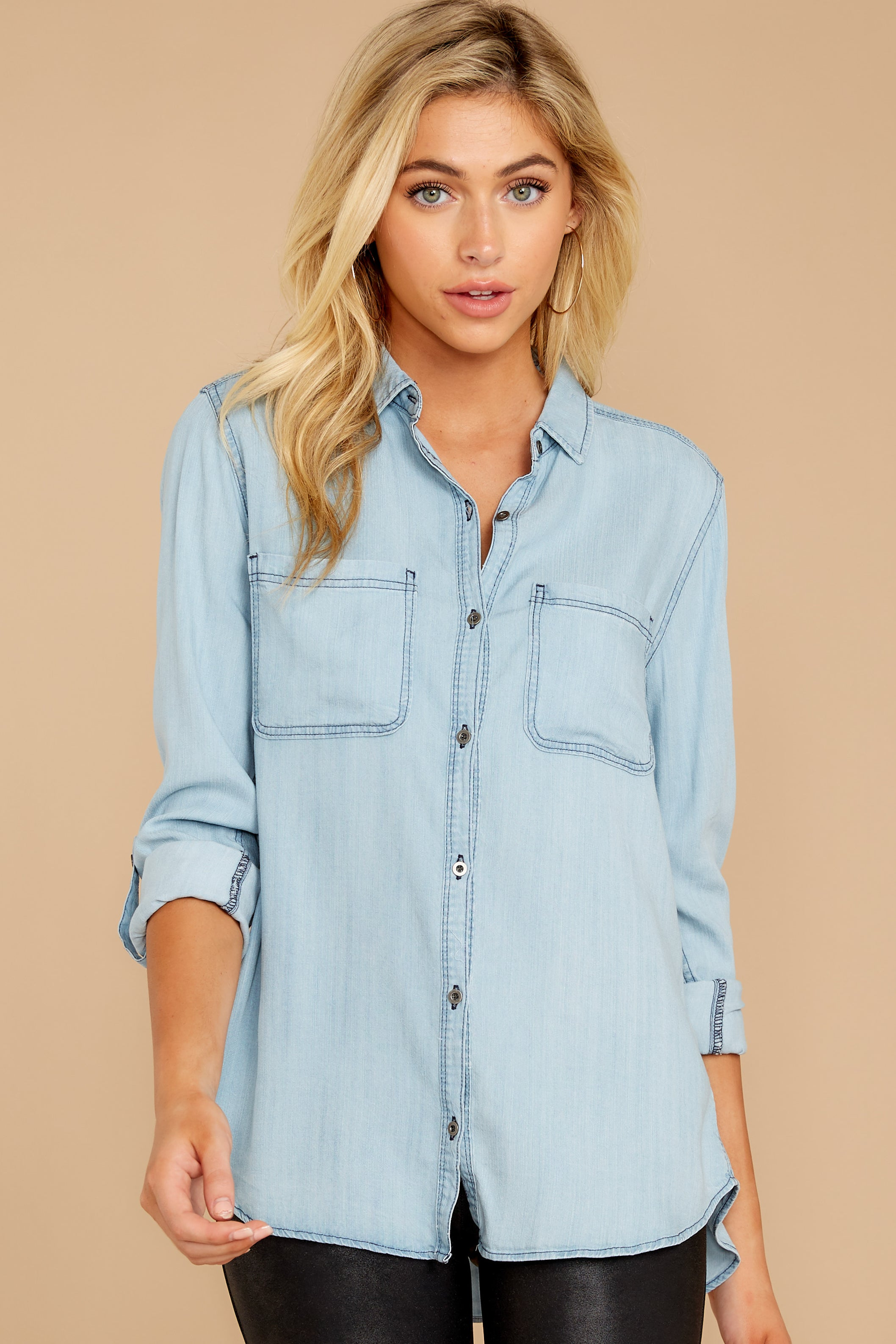 4 Wander Free Light Chambray Button Up Top at reddressboutique.com