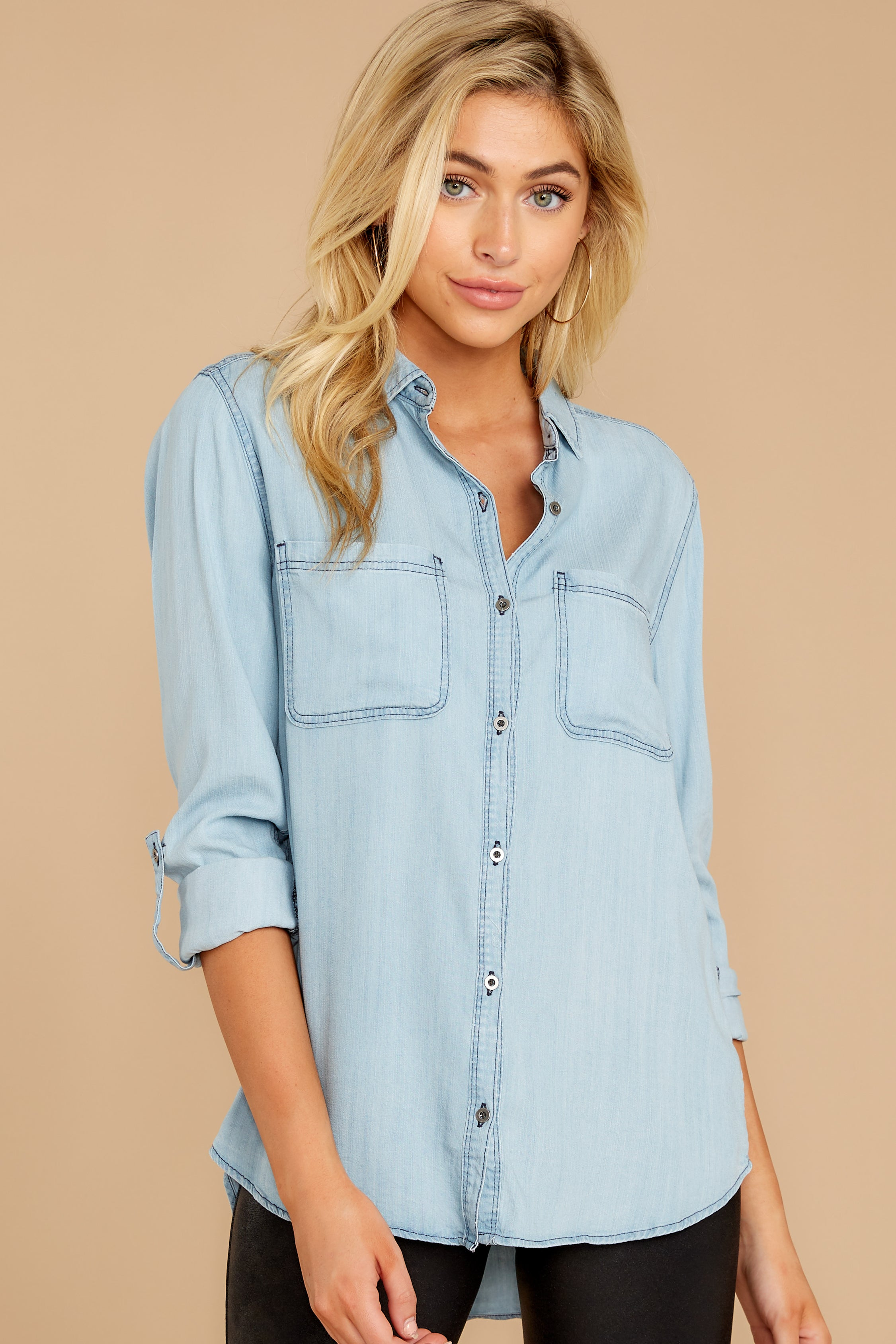 5 Wander Free Light Chambray Button Up Top at reddressboutique.com