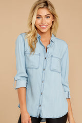 6 Wander Free Light Chambray Button Up Top at reddressboutique.com