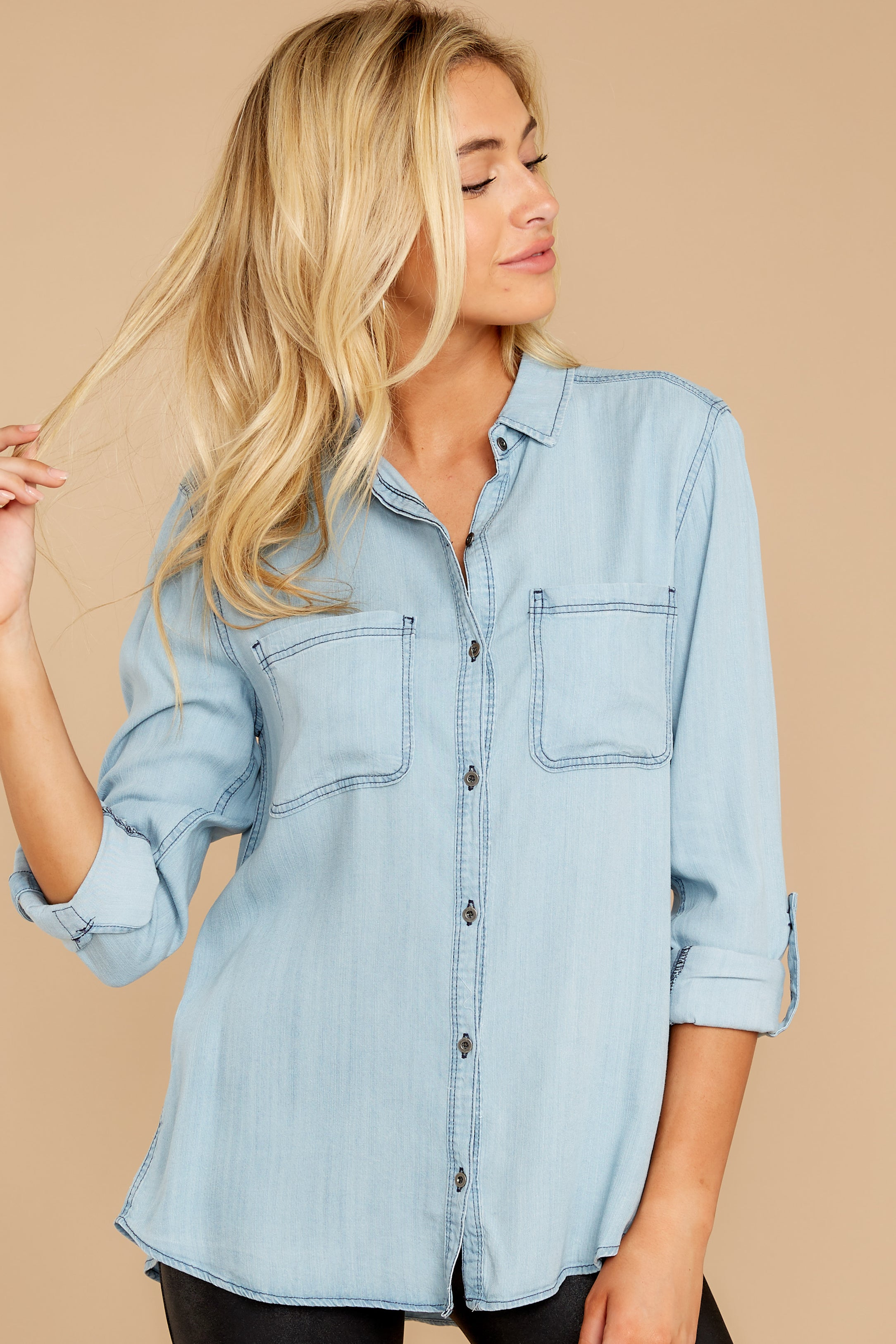 7 Wander Free Light Chambray Button Up Top at reddressboutique.com