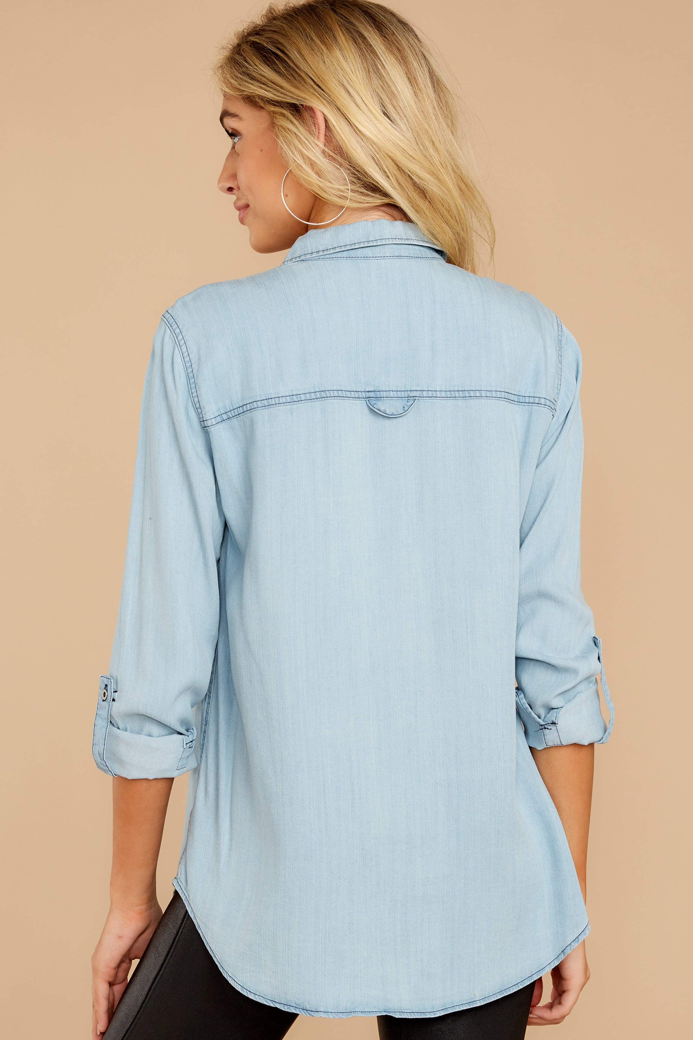 8 Wander Free Light Chambray Button Up Top at reddressboutique.com