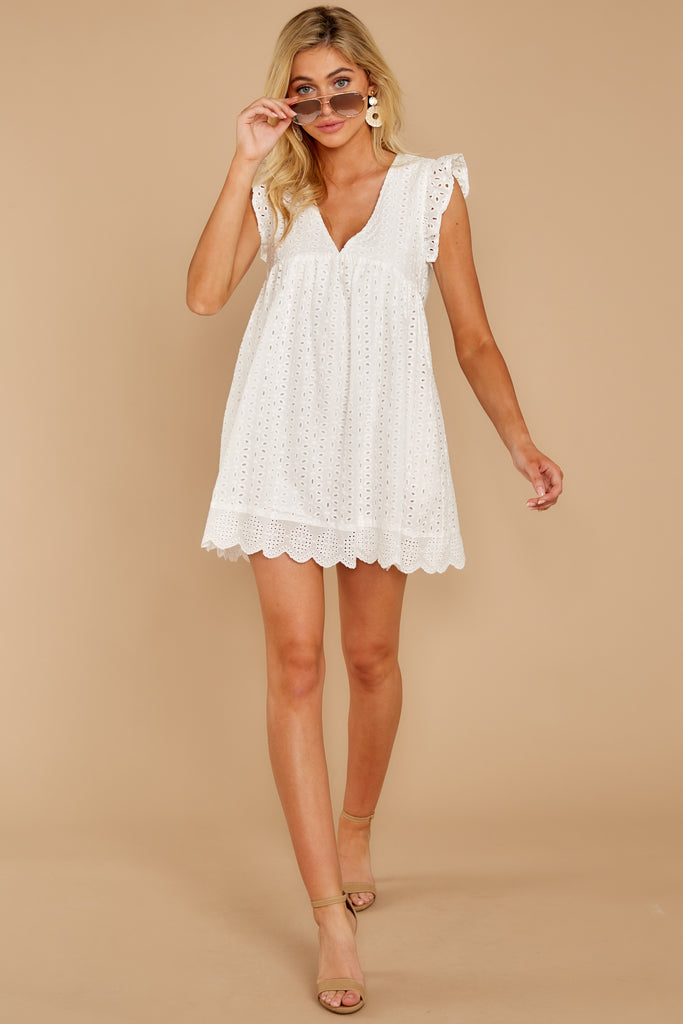 1 Thinking Out Loud White Midi Dress at reddressboutique.com