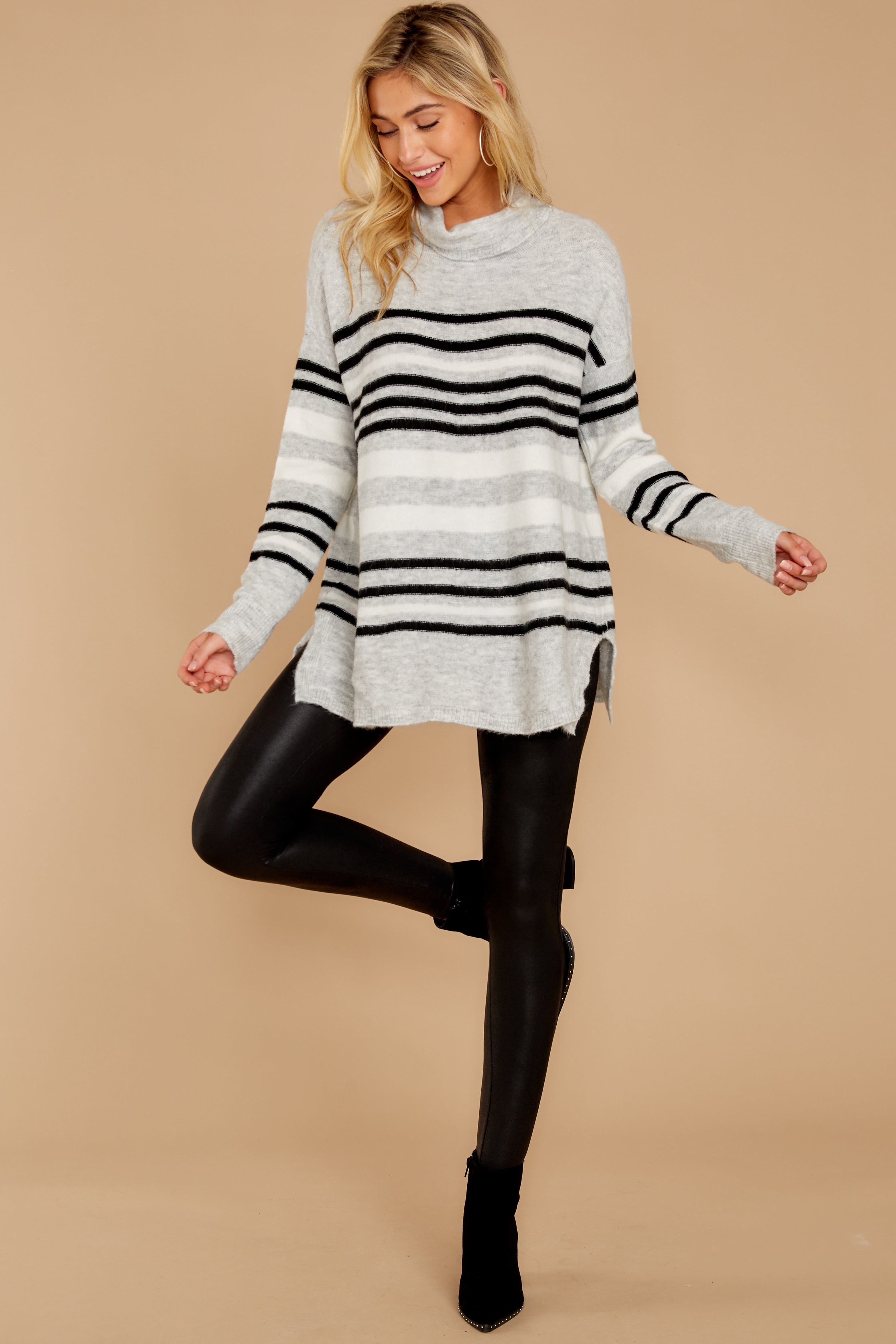 1 Soothing Sounds Light Grey Multi Stripe Sweater at reddressboutique.com