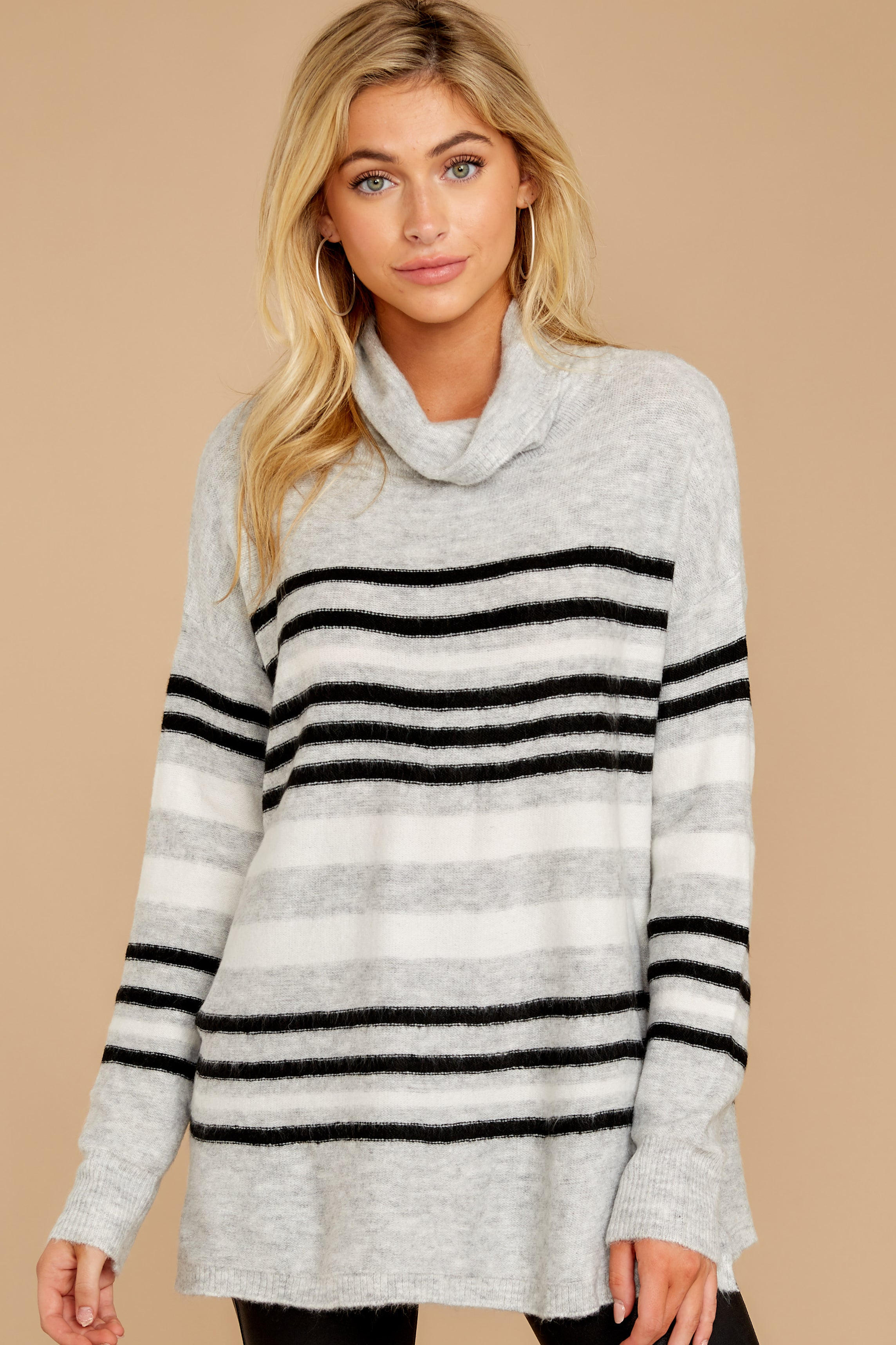 5 Soothing Sounds Light Grey Multi Stripe Sweater at reddressboutique.com