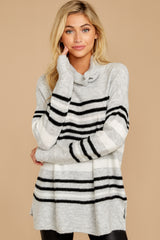6 Soothing Sounds Light Grey Multi Stripe Sweater at reddressboutique.com
