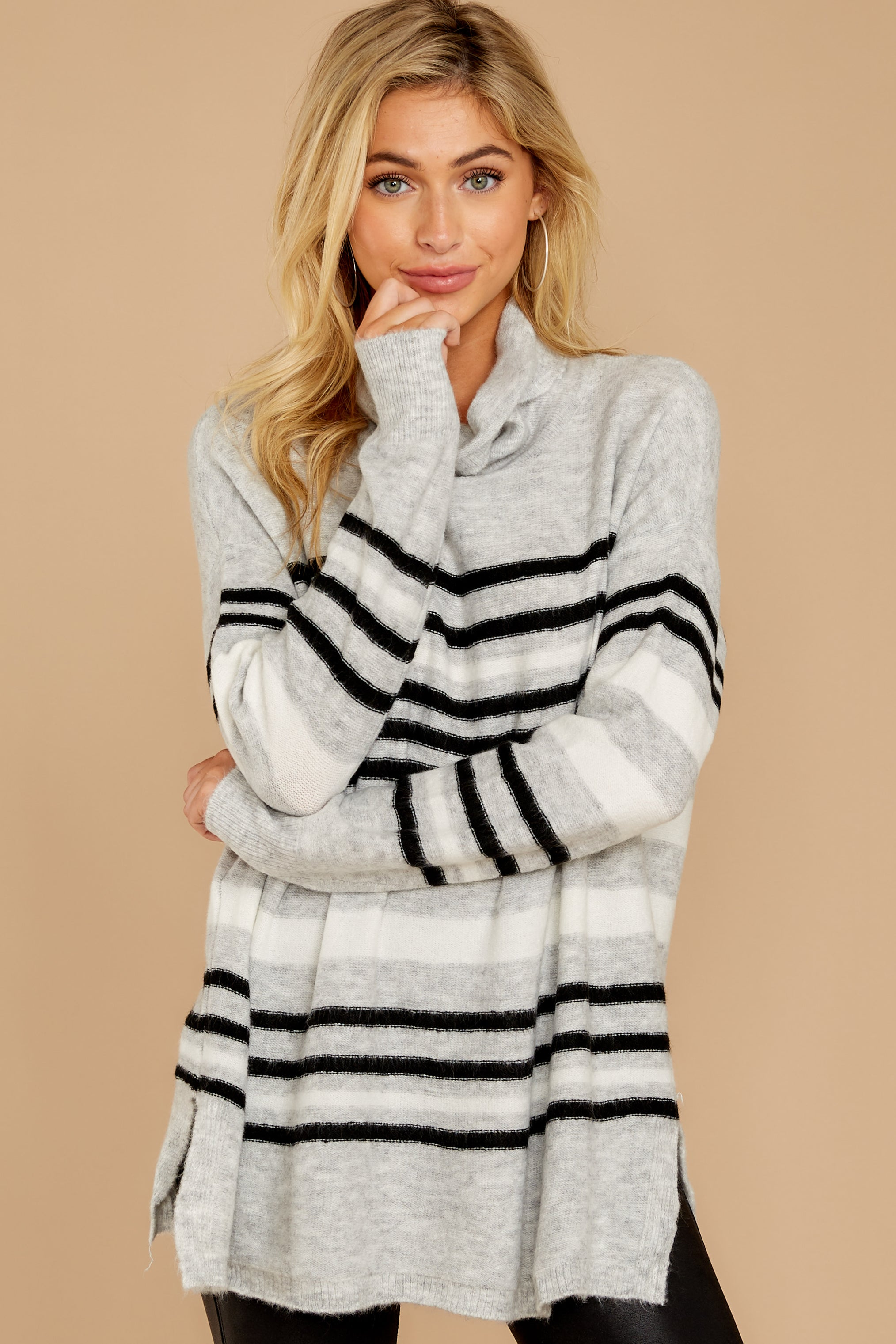 7 Soothing Sounds Light Grey Multi Stripe Sweater at reddressboutique.com